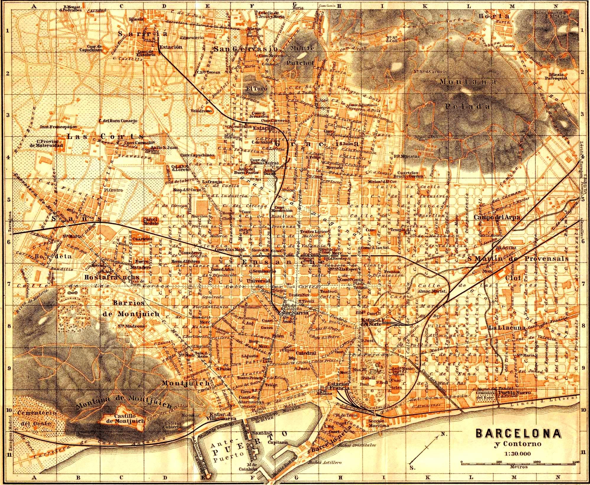 plànol de barcelona de 1901